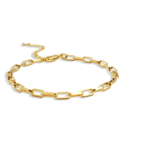 Gold Rectangle Link Chain Bracelet - IT STYLE BOX