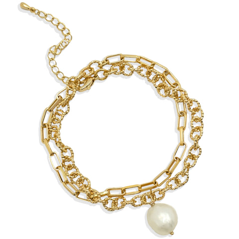 Mixed Chain Wrap Bracelet with White Pearl - IT STYLE BOX