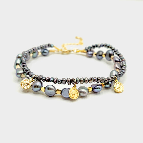 Layered Gray Pearl Bracelet - IT STYLE BOX