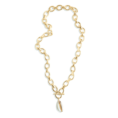 Chloe Bold Link Chain Toggle Bar Necklace with Cowrie Shell Pendant