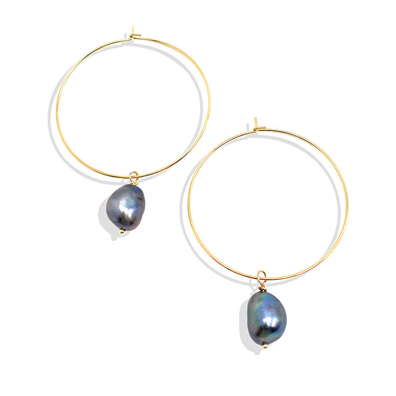 Gray Freshwater Pearl Hoop Earring - IT STYLE BOX