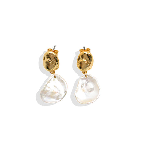 Coin Keshi Pearl Earring with Gold Beans - IT STYLE BOX
