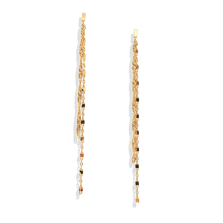 Gold Layered Chain Drop Earring - IT STYLE BOX