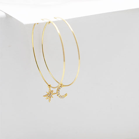 Gold Unbalance Hoop Earring with Cubic Zirconia Starburst and Crescent Moon Charms - IT STYLE BOX