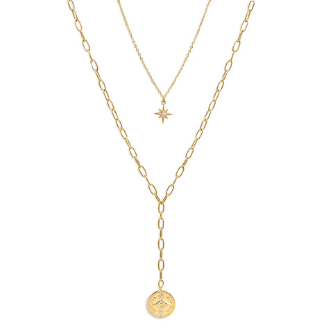 Layered Y Necklace with Starburst and Gold Coin - IT STYLE BOX