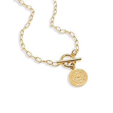 Gold Evil Eye Coin Necklace with Toggle Closure - IT STYLE BOX