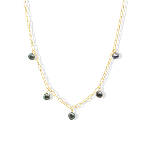Floating Gray Freshwater Pearl Necklace - IT STYLE BOX