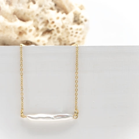 White Pearl Bar Necklace - IT STYLE BOX