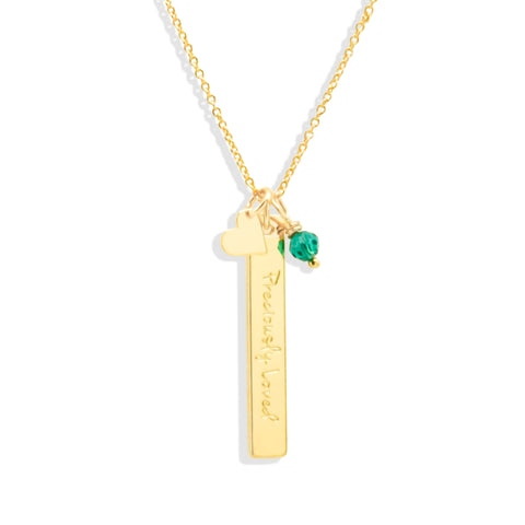 Long Bar Necklace with Birthstone & Wishing Charm - IT STYLE BOX