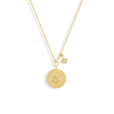 Gold Bee Coin Necklace with Cubic Zirconia Flower Charm - IT STYLE BOX