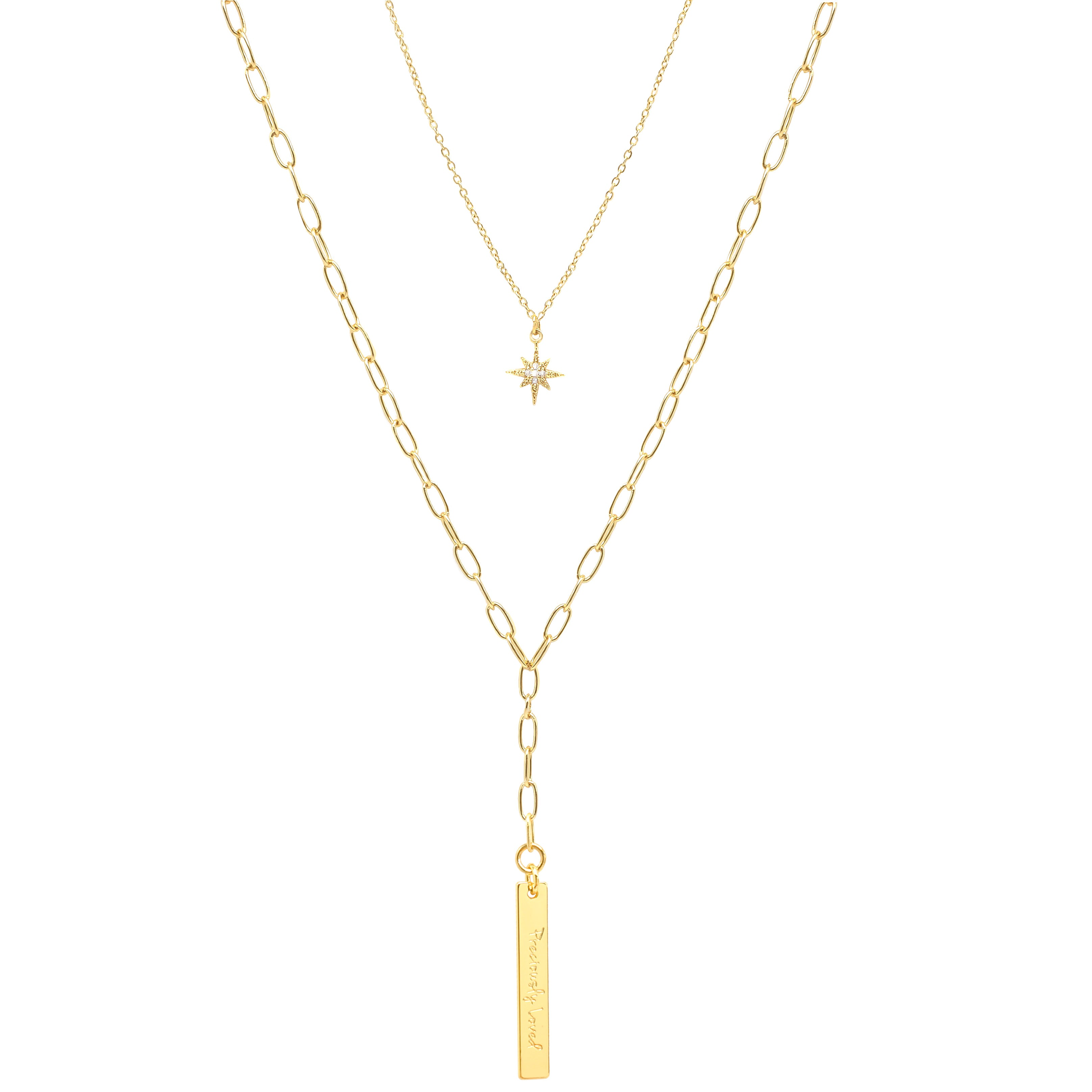 Layered Y Necklace with Starburst and Long Bar Charm Necklace - IT STYLE BOX