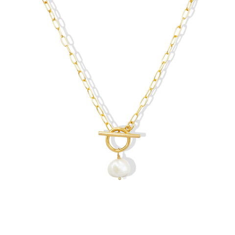 White Freshwater Pearl Toggle Necklace - IT STYLE BOX