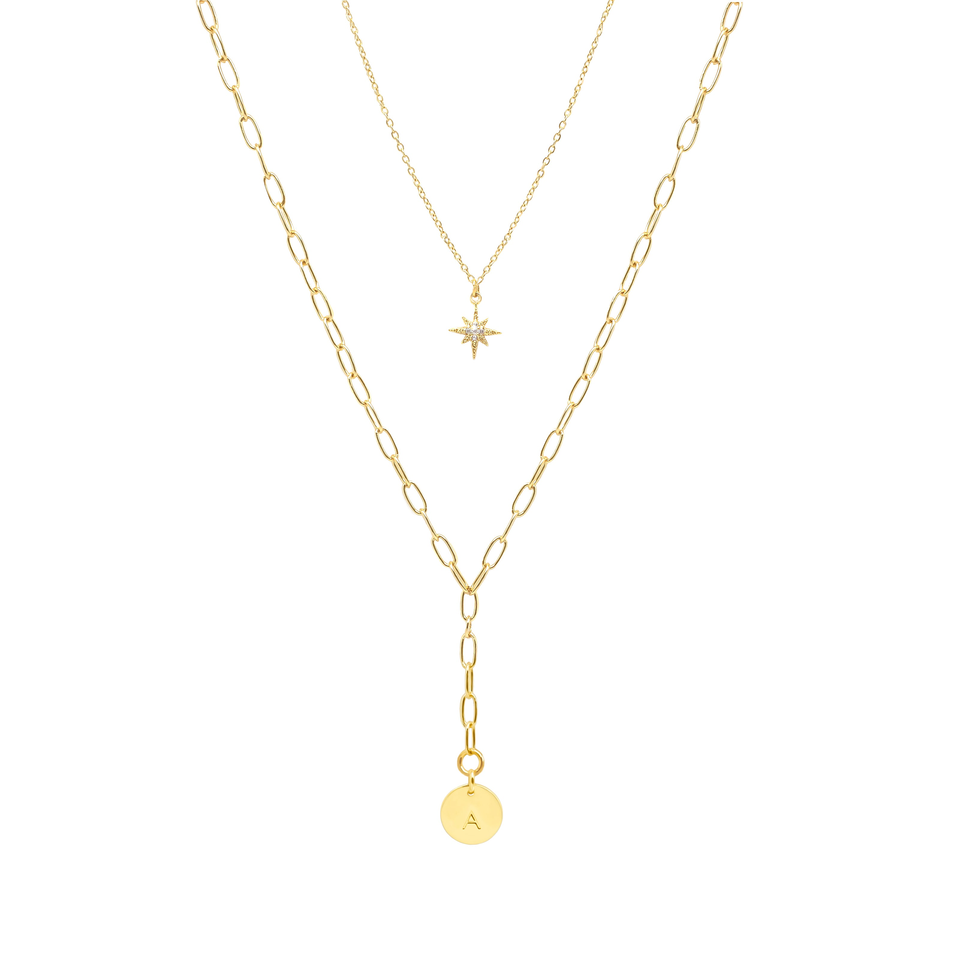 Layered Y Necklace with Starburst and Initial Charm - IT STYLE BOX
