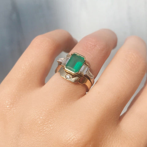 Art Deco diamonds and emerald engagement ring