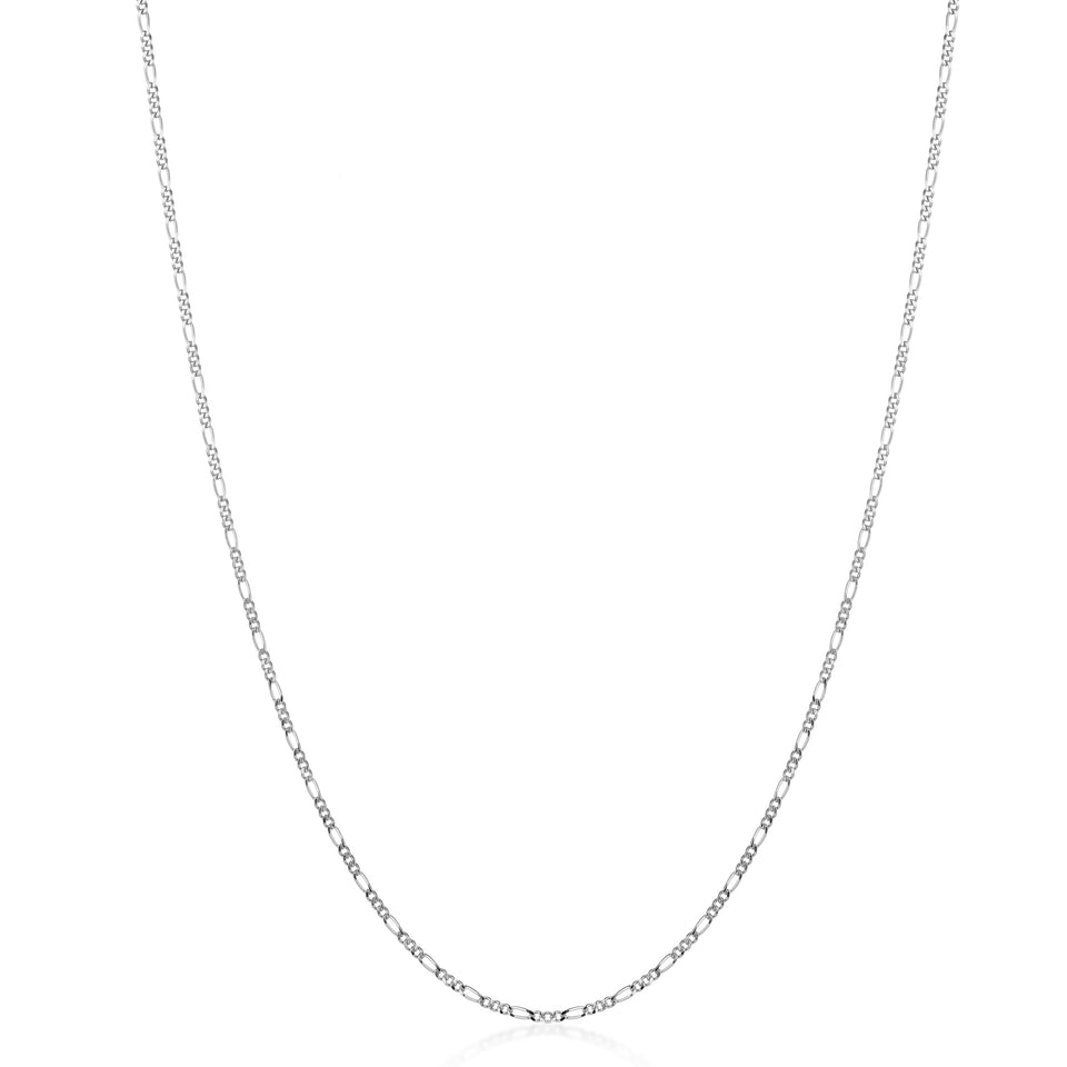Rhodium plated Figaro chain