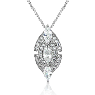 Navette Marquise Sterling Silver Necklace