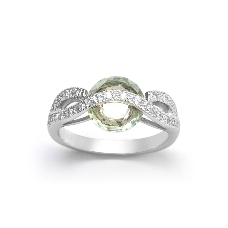Overlay Sterling Silver Green Ring