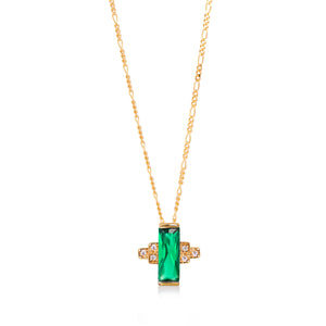 Audrey Green Necklace on Figaro Chain