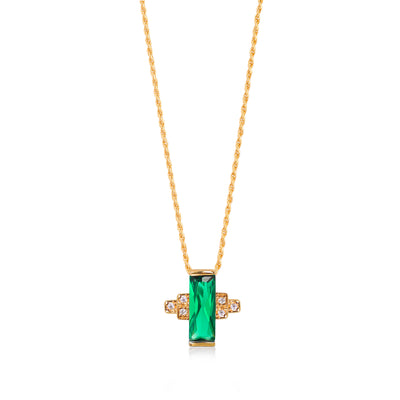 Audrey Green Necklace on Rope Chain