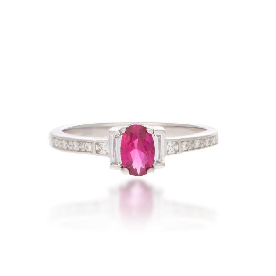 Joan Sterling Silver Ring in Pink Corundum