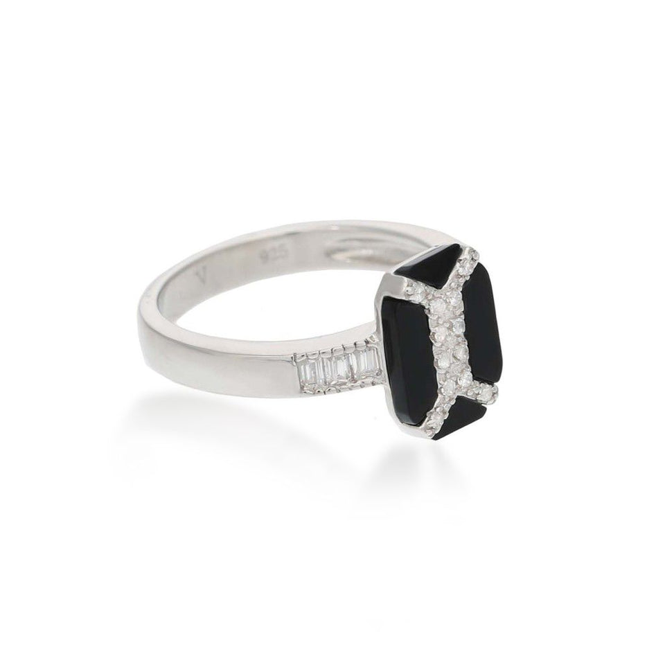 Vanessa Black Agate Sterling Silver Ring