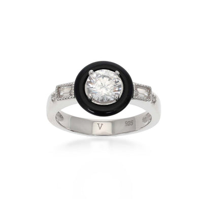 Marion Black Agate Sterling Silver White Ring