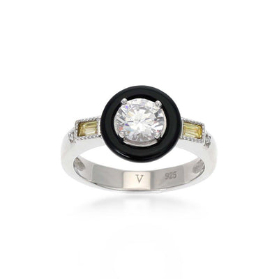 Marion Black Agate Sterling Silver Citrine Ring
