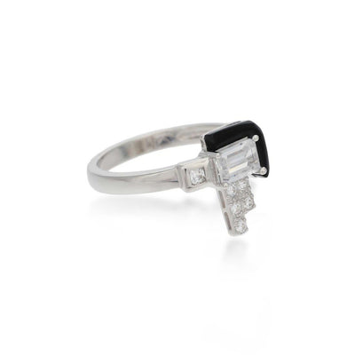 Elodie Black Agate Sterling Silver White Ring