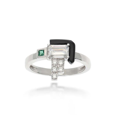 Elodie Black Agate Green Ring