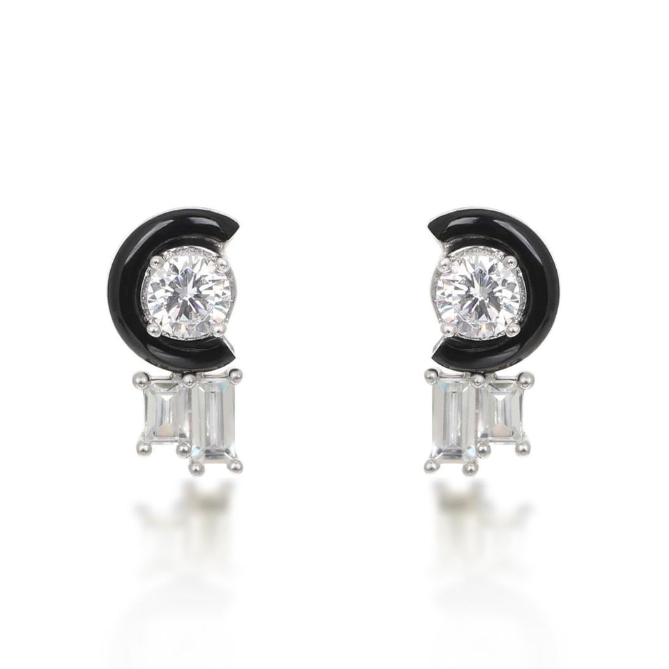 Marion Black Agate White Stud Earrings