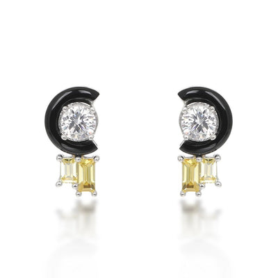 Marion Black Agate Citrine Stud Earrings