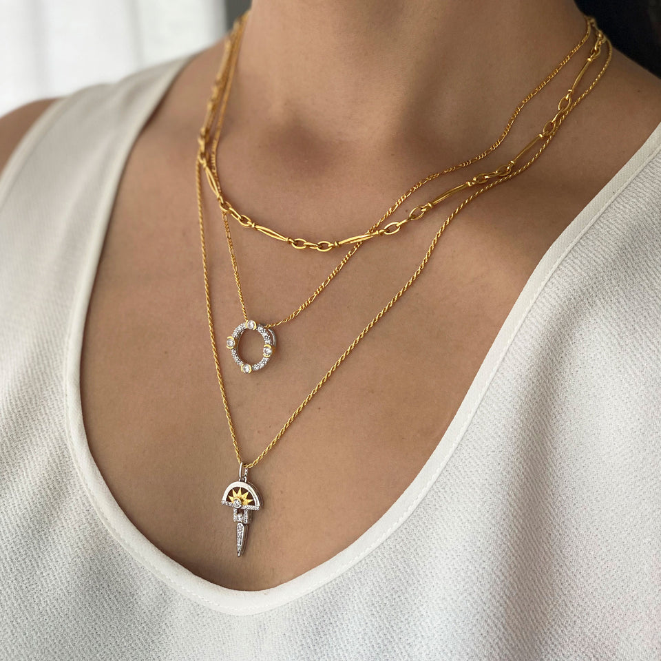 Luna Gold Circle Necklace on Figaro Chain