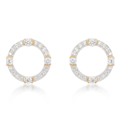 Luna Gold Circle Stud Earrings