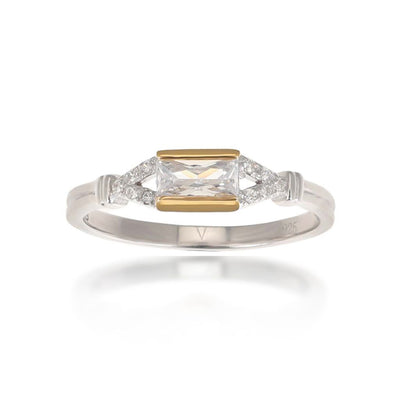 Agata Baguette Gold Ring