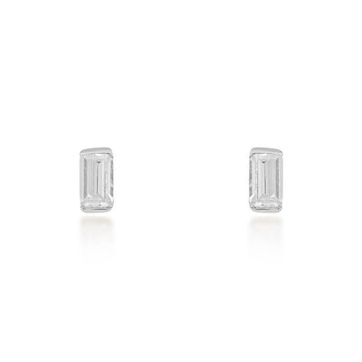 Allegra Baguette Silver Stud Earrings