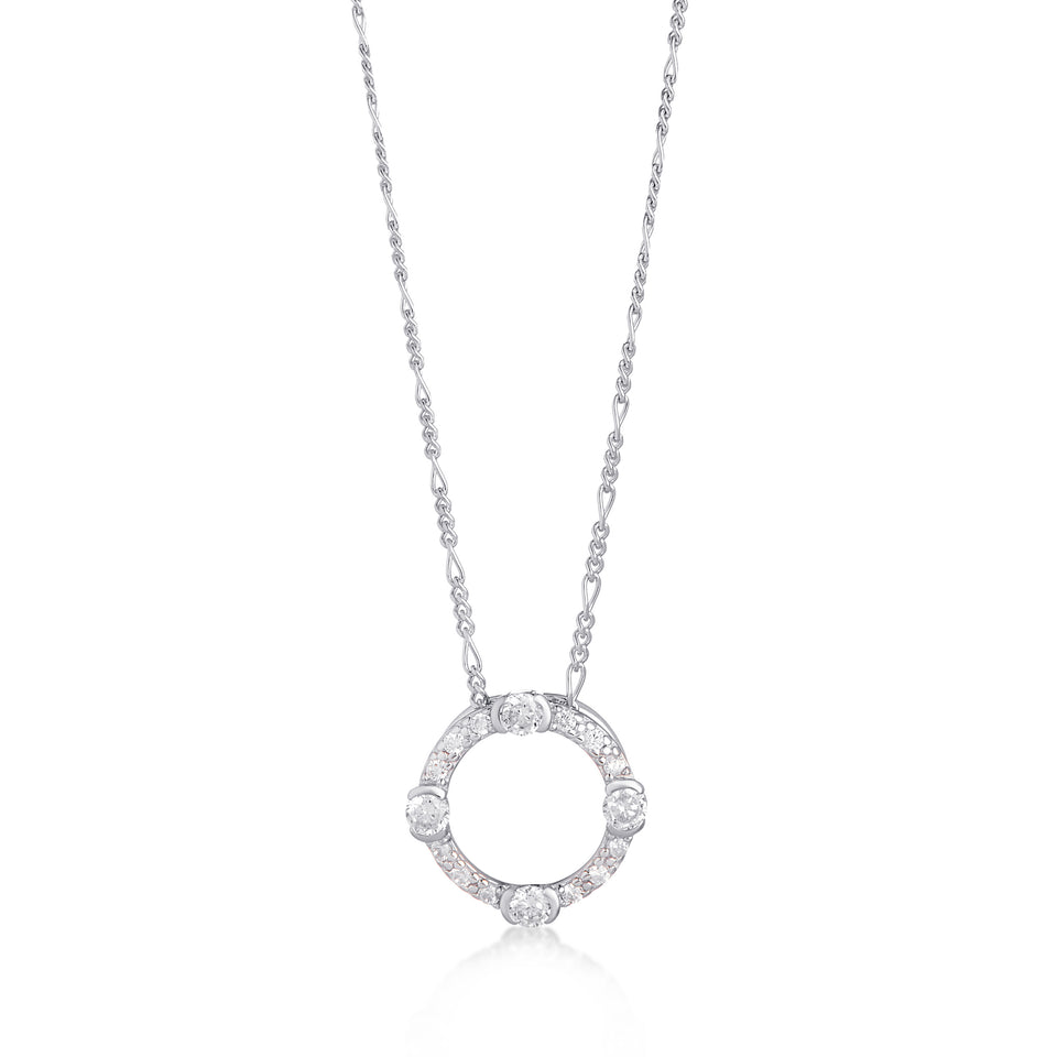 Luna Sterling Silver Circle Necklace on Figaro Chain