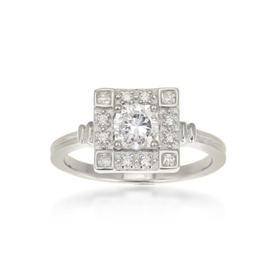 Odette Sterling Silver Square Ring