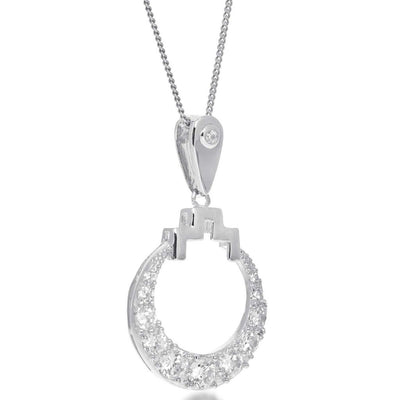 Bianca Silver Drop Circle Necklace