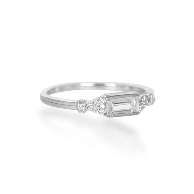 Agata Baguette Silver Ring