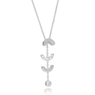Attina Quartz Silver Drop Necklace