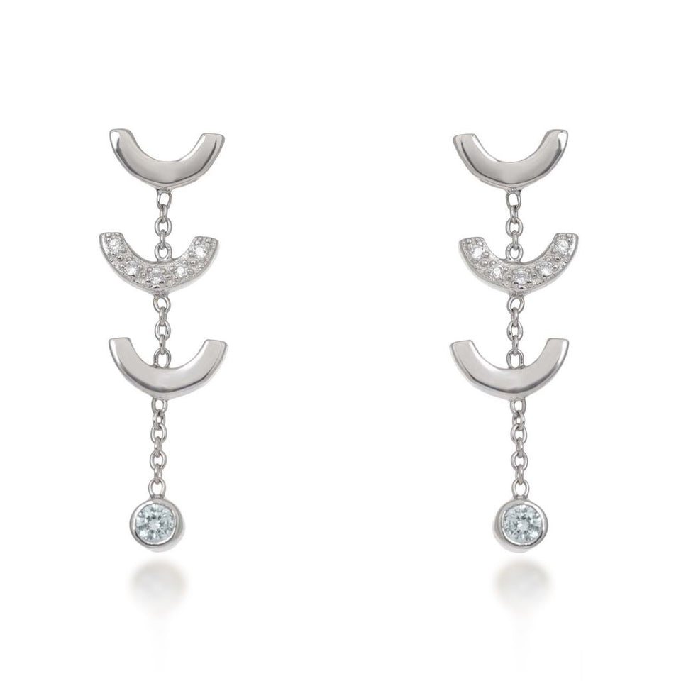 Attina Quartz Silver Drop Earrings V by Laura Vann