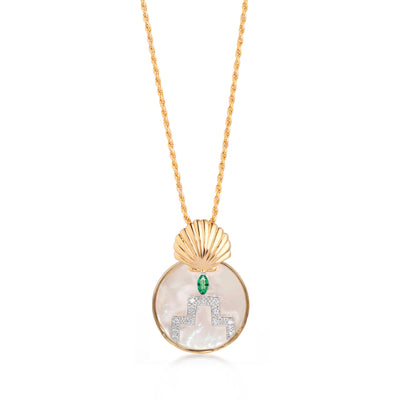 Gina Gold Pearl Shell Circle Pendant on Rope Chain