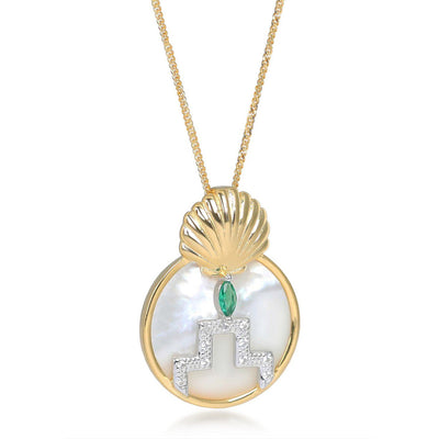 Gina Gold Pearl Shell Circle Pendant