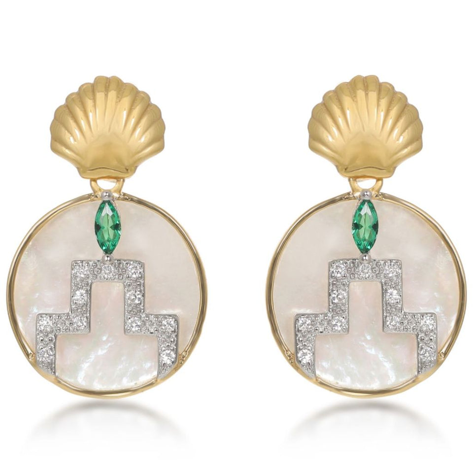 Gina Gold Pearl Circle Shell Drop Earrings