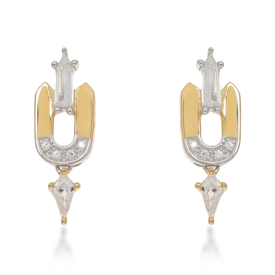 Leandra Sterling Silver Gold Stud Earrings