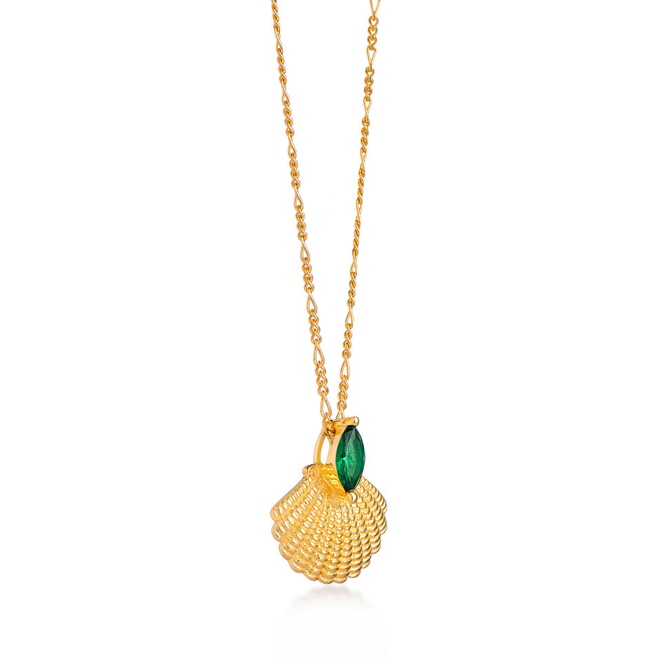 Pamela Gold Shell Necklace on Figaro Chain