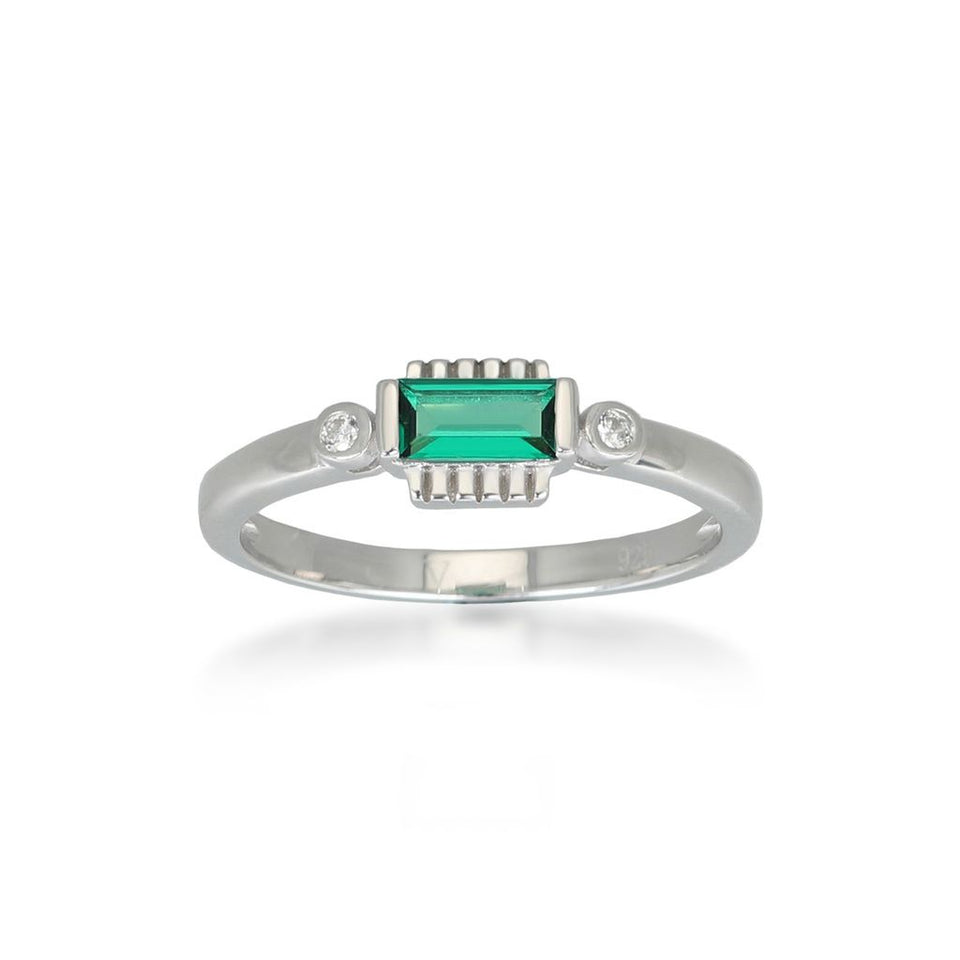 Jolie Green Silver Ring