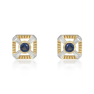 Eleanor Gold Stud Earrings In Blue Earrings V by Laura Vann