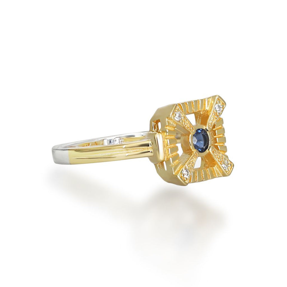 Eleanor Gold Ring In Blue
