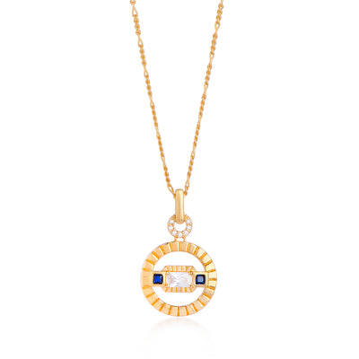 Etta Gold Necklace In Blue on Figaro Chain
